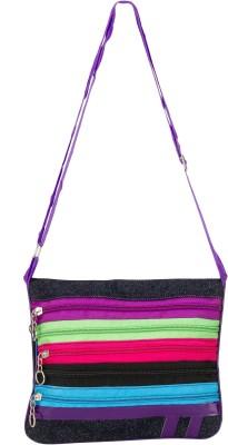 Glitters Girls Purple Canvas Sling Bag