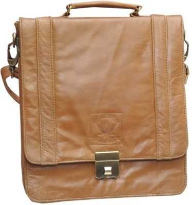 B-World Men Brown Genuine Leather Sling Bag