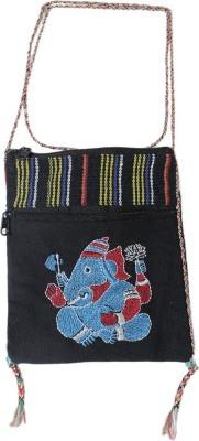 HR Handicrafts Girls Black Canvas Sling Bag