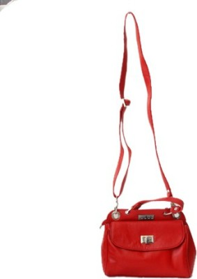 Checkmate Girls Casual Red Genuine Leather Sling Bag