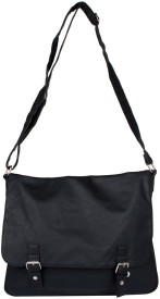 Fiza Women Black Leatherette Shoulder Bag