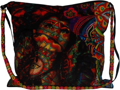 Triveni Women Casual Multicolor PU, Canvas Sling Bag
