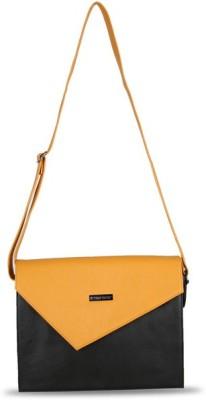 Touristor Women Black, Yellow Leatherette, PU Sling Bag