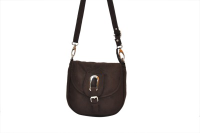 Hide Bulls Girls Brown Velvet Sling Bag
