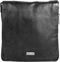 Scharf Men & Women Black Genuine Leather Sling Bag