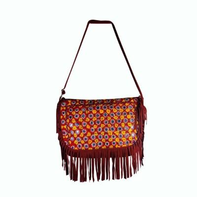 Praniti Girls Maroon Cotton Sling Bag