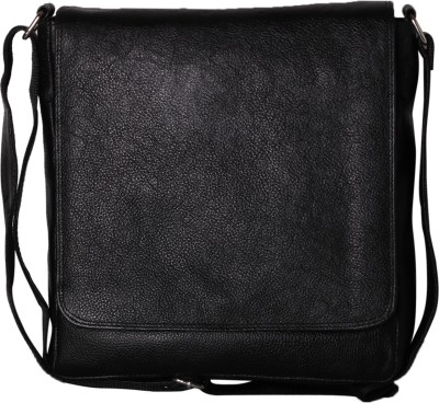 RLE Men, Boys, Girls, Women Black Genuine Leather Messenger Bag