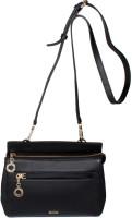 RI2K Girls Black Genuine Leather Sling Bag