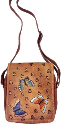 Balona Women Casual Brown Genuine Leather Sling Bag