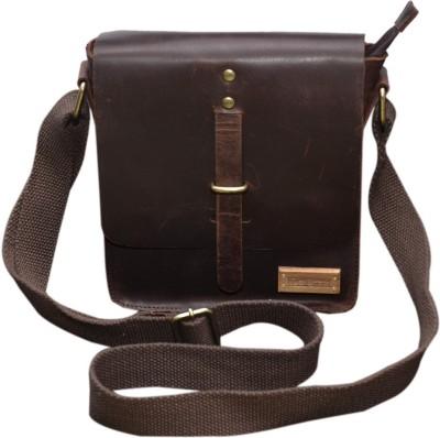 Le Craf Men, Women Brown Genuine Leather Sling Bag