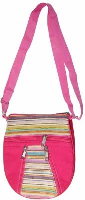 Saffron Craft Men, Women Casual, Formal Pink, White Canvas Sling Bag