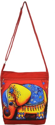 Shilpkart Women, Girls Red Canvas, Cotton Sling Bag