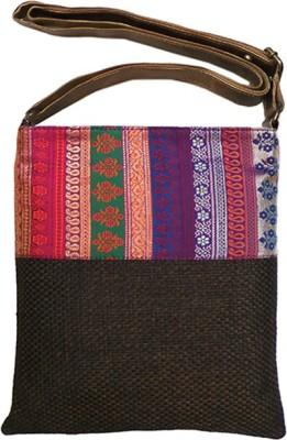 Bhamini Women Brown Jute Sling Bag