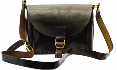 craftelephant Women Brown Genuine Leather Sling Bag