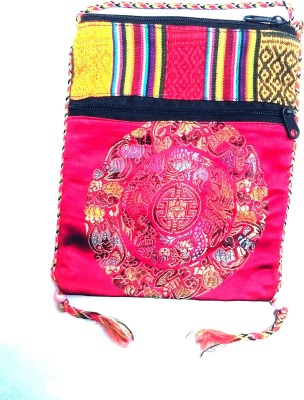 HR Handicrafts Girls Red Canvas Sling Bag