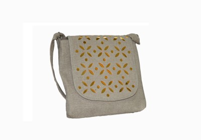 Vedic Deals Girls, Women Beige Canvas Sling Bag