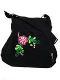 Fly Angels Women Black Canvas Sling Bag
