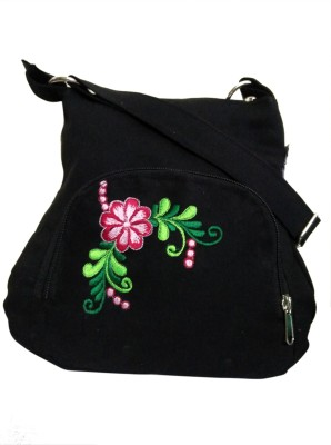 Fly Angels Women Black Canvas Sling Bag