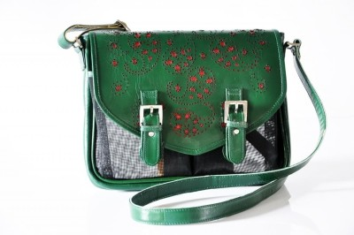Dhruva Women Casual Green Genuine Leather, Nylon Sling Bag