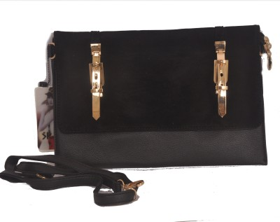 shanaya collection Girls Black Velvet, Leatherette Sling Bag
