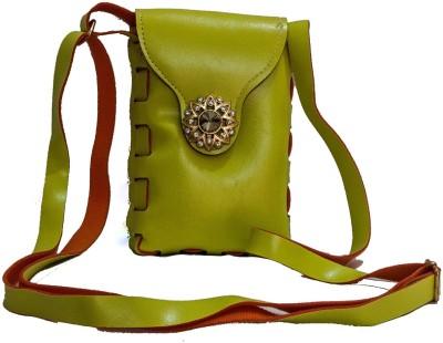 Bagzmania Women, Girls Evening/Party, Festive, Formal, Casual Green, Orange Leatherette Sling Bag