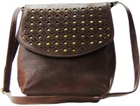 Madame Exclusive Women Brown Leatherette Sling Bag