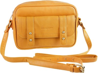 Kooltopp Girls, Women Yellow Leatherette Sling Bag
