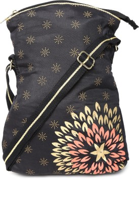 Anouk Women Black Canvas Sling Bag