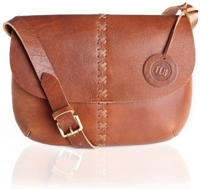 TLB Girls Casual Tan Genuine Leather Sling Bag
