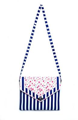 Allmine Girls Casual Blue, White Cotton Sling Bag
