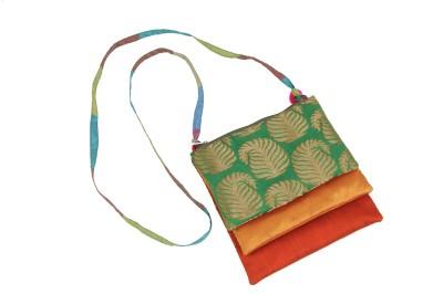 Bagkrafts Girls Green, Yellow, Orange, Gold Silk Sling Bag