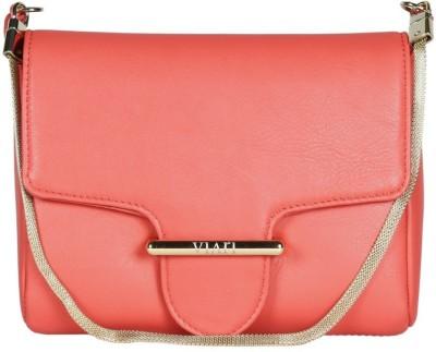 Viari Women Casual Pink Genuine Leather Sling Bag