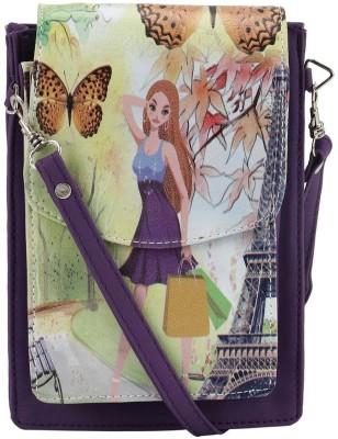 Coash Women Purple PU Messenger Bag