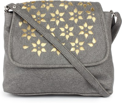 Star Style Women Casual Grey Leatherette Sling Bag
