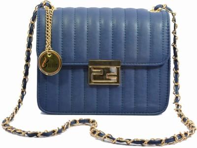 Balooni Girls Evening/Party Blue PU Sling Bag
