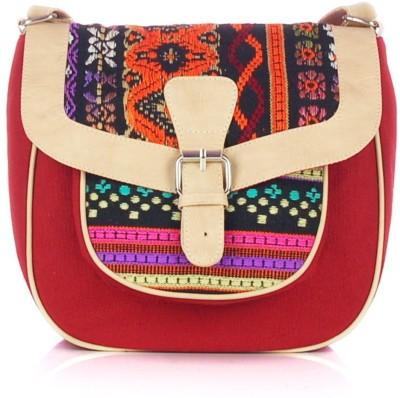 Shaun Design Women, Girls Red Canvas Sling Bag