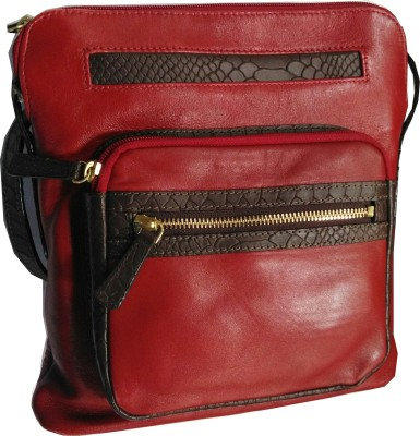 Hidesign Women Red Genuine Leather Sling Bag
