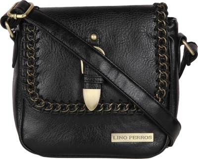 Lino Perros Women Black Leatherette Sling Bag