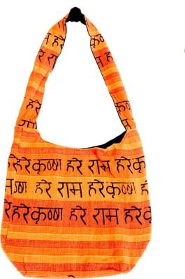 Old School Ethnic Girls Orange Cotton Sling Bag