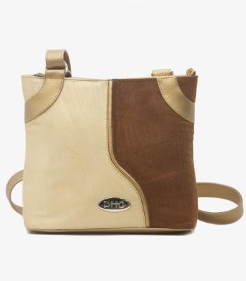 DHC Women Casual Gold PU Sling Bag