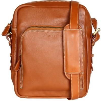 Viari Men Casual Tan Genuine Leather Messenger Bag