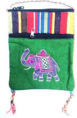 HR Handicrafts Girls Green Canvas Sling Bag