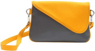 The Parallels Girls Casual Yellow PU Sling Bag