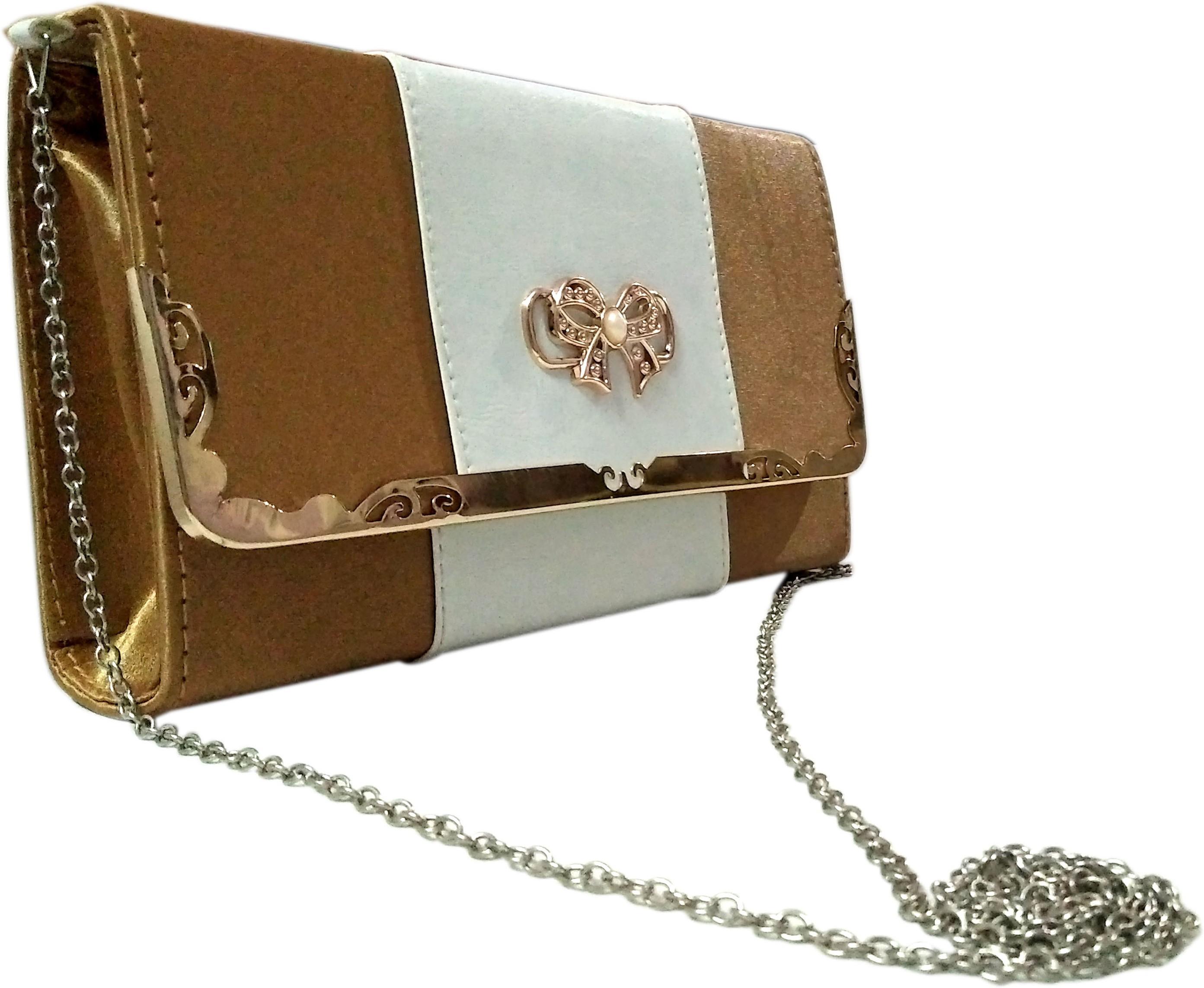 Sling bag below 500 - Madash Girls Gold Leatherette Sling Bag