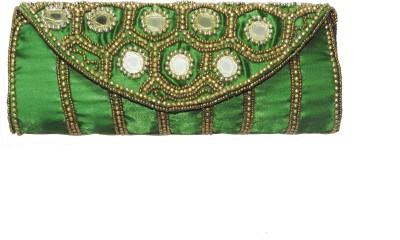 ShopperzGuide Girls, Women Green Silk Sling Bag