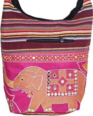 Jaipuri Haat Girls Yellow Cotton Sling Bag