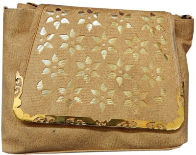 Navaksha Women Gold PU Sling Bag