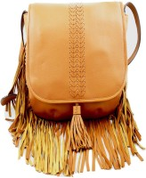 Sophia Visconti Girls Tan Genuine Leather Sling Bag