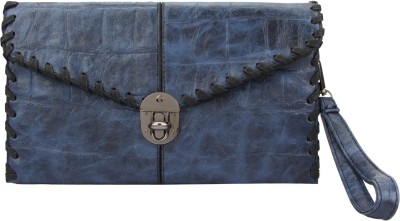 The Peacock Craft Women Blue Leatherette Sling Bag