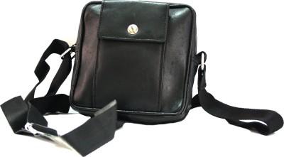 Modish Designs Men, Boys, Girls, Women Black Genuine Leather Sling Bag